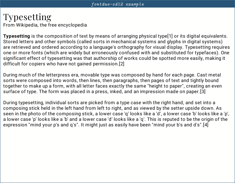 Screenshot of some text from Wikipedia rendered using this crate.
